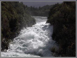 The Waikato River becomes a dramatic torrent above the Huka Falls, in the centre of the North Island.