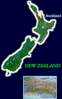 New Zealand, showing the three main islands: the North Island, the South Island, and tiny Stewart Island down at the bottom. The inset of Auckland below looks north-east across the city towards the Hauraki Gulf.