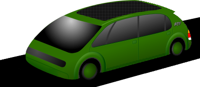 The EStarCar: quiet, clean, green. Designed for customised, quick-change bodies & functions, so this is only one of many shapes possible. Zero emissions; FCV or FCV-ready. All-electric. The black panel on the roof is an array of solar-cells. (C) 2005.