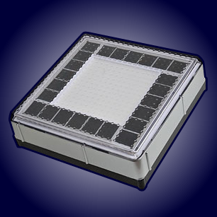 An Infinity Solar-Light Tile, showing the depth of the casing, which contains the ultracapacitors and control-circuitry. The dark squares round the perimeter are the solar cells. The LEDs are in the centre. Click for a PDF of technical specifications